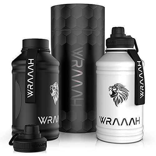 WRAAAH Borraccia in acciaio inox, 2 l, adatta per anidride carbonica, senza BPA, borraccia sportiva da 2 litri, 2 chiusure a prova di perdite, per palestra e fitness, robusta e durevole