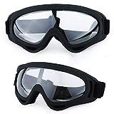 Gafas de Esquí, Máscara Gafas Esqui Snowboard Nieve Espejo para Hombre Mujer Adultos OTG Compatible con Casco,Anti Niebla 100% Protección UV Gafas de Ventisca_Marco Negro + Lente Transparente