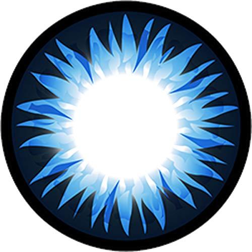 Matlens - GEOLICA Farbige Kontaktlinsen ohne Stärke blau blue GEO Extra Bella Big eyes WBS-202 circle lens 2 Linsen 1 Kontaktlinsenbehälter 1 Pflegemittel 50ml