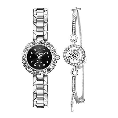 #N/A/a Juego de Pulsera Y Reloj de Lujo para Mujer Reloj de Pulsera de Cuarzo Regalo de Joyería - Negro Plateado de Plata