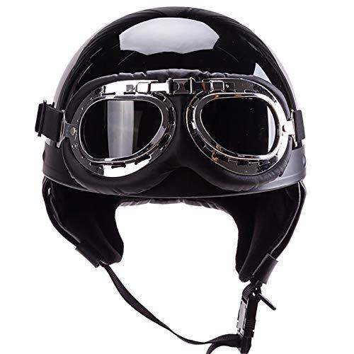 HZIH Cascos De Moto,Retro Medio Casco con Gafas de Protección Casco Moto De...