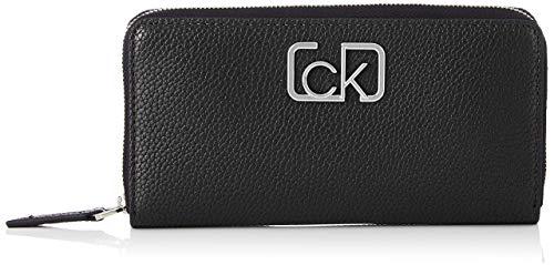 Calvin Klein Damen Ck Cast Lrg Ziparound Geldbörse, Schwarz (Black), 2x10x19 Centimeters
