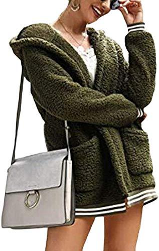 Womens Fall Winter Hoodie Cardigan Loose Oversized Sherpa Fuzzy Coat Outerwear