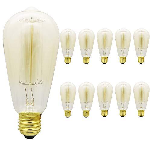 Ampoule à incandescence E27, 40 W, vintage, culot E27 ST64 en tungstène, blanc chaud, intensité variable 2 300 K, 220 – 240 V, antique pour style rétro, nostalgique, industriel Rétro St64-z-10pcs