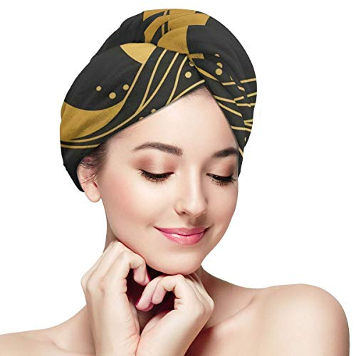 Sun Moon Logo Design Sea Wave Microfiber Dry Hair Cap for Bath Spa Soft Super Absorbent Quick Drying Towel Wrap Wet Hair Turbans 28 inch X 11 inch
