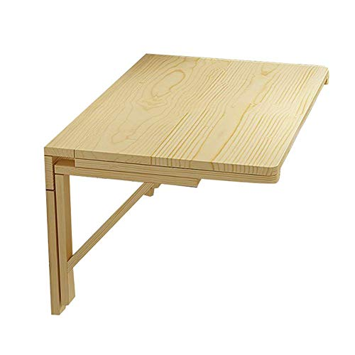 Wall-Hung Storage Table/Desk,Laptop Stand Desk Foldable Kitchen Countertop Study Table Solid Wood, Multi-Size Optional, Yue QiSong, Wood Color,