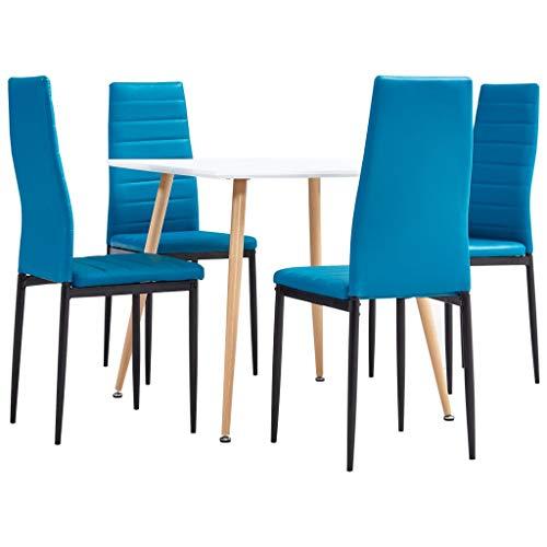 vidaXL Juego de Comedor 5 Piezas Set Conjunto Muebles Sillas Sofás Asientos con Mesa Soporte Cocina Hogar Casa Interior Cuero Sintético Azul Mar