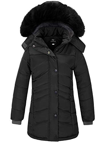 FARVALUE Girls' Winter Coats Long Parka Thicken Fleece Lined Hooded Puffer Jacket Coat for Girls Black 5-6 Y