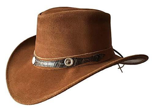 BRANDSLOCK Herren Vintage Breiter Krempe Cowboy Aussie Style Western Bush Hut (L, Bräunen)