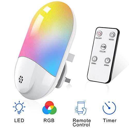 Plug in Night Light, Warm White Led Night Light for Kids, Smart Remote Children Night Light Plug in Wall with Dusk to Dawn Photocell Sensor, Timer Function, 9 Colors Changing, for Baby Room, Stairs