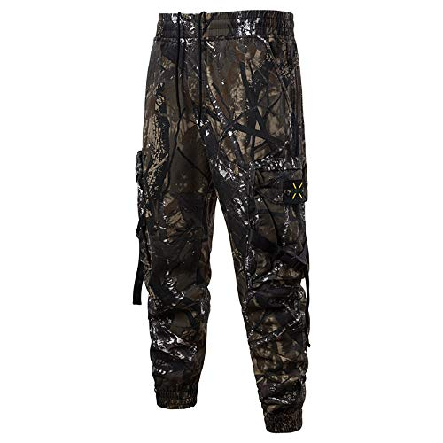 Hahuha Herrenhosen,Summer Fashion Mid-Rise Men es Longs Loose Casual Camouflaget Tooling Pants