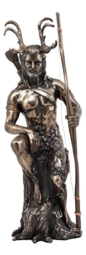 Ebros Celtic Pagan God Herne The Hunter Statue 11' Tall in Bronze Patina The Horned God Wiccan Decorative Figurine