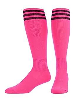 TCK Elite Finale 3 Stripe Soccer Socks  Hot Pink/Black Large