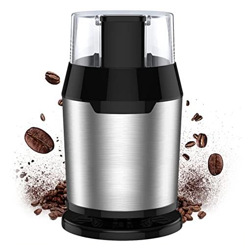 Kaffeemühle Elektrische Kaffeemühle mit Edelstahlklinge 200W Motor 50g Kapazität 50dB Geräuscharme Burr Mühle Maschine für Kaffeebohnen Getreidegewürze Nüsse Haus & Büro