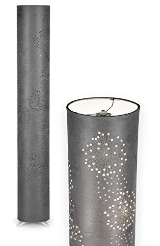 NÄVE Stoff Stehlampe Aurona grau - Stehleuchte 120 x 18 cm mit 2x E14 Fassung 40W - Standleuchte modern aus Metall/Stoff ideal für Wohnzimmer & Schlafzimmer - Wohnzimmerlampe, Standlampe, Leselampe