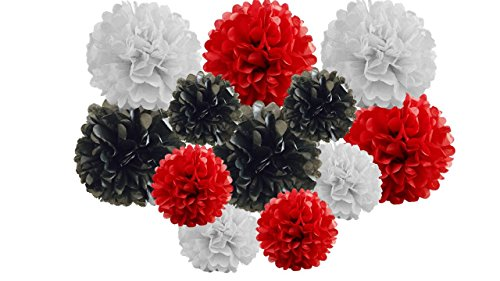 pack of 12 Pack Mixed Tissue Paper Pompom Pom Pom Hanging Garland Wedding Party Decorations (Red/Black Shade, mix 8' & 10' (20 cm & 25 cm))