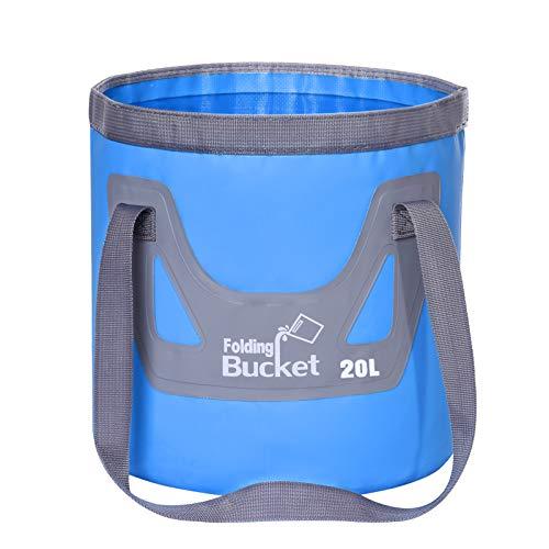 12L 20L 折りたたみ バケツ アウトドア 屋外用パックシンク 布バケツ 持ち運び 大容量 丈夫 防水 耐熱 超軽量 水の入れ物 小物入れ 洗車 旅行 出張 お釣り対応 多機能 防災グッズ 円筒形 自立式 (Blue, 20L)