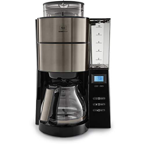 Melitta Aroma Fresh Kaffeemaschine inkl. Mahlwerk und abnehmbaren Wassertank, metallic grau