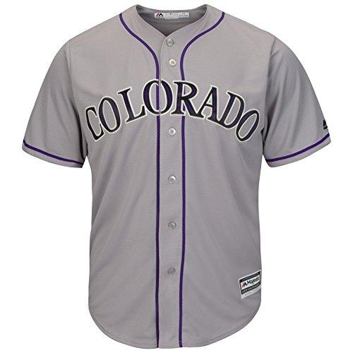 Majestic Colorado Rockies Cool Base MLB Camiseta Road gris, gris