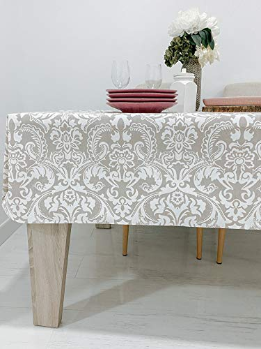 Tischdecke, fleckenabweisend, rechteckig, Leinen-Effekt, Baumwolle, harzbeschichtet (Teflon), 14 Farben, laminiert, waschbar und groß, für Küche, Esszimmer, Außenbereich, Beige Damast, 140 x 140 cm