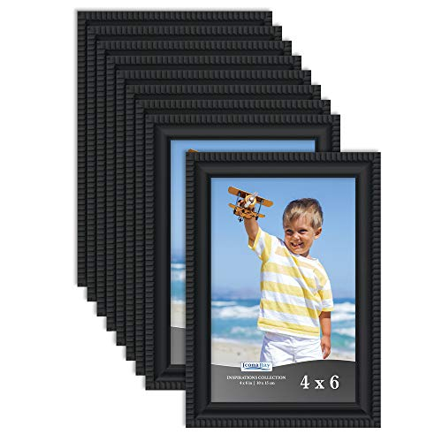 Icona Bay 4x6 Picture Frames (Black, 12 Pack), Beautifully Detailed Molding, Picture Frame Set, Wall Mount or Table Top, Inspirations Collection
