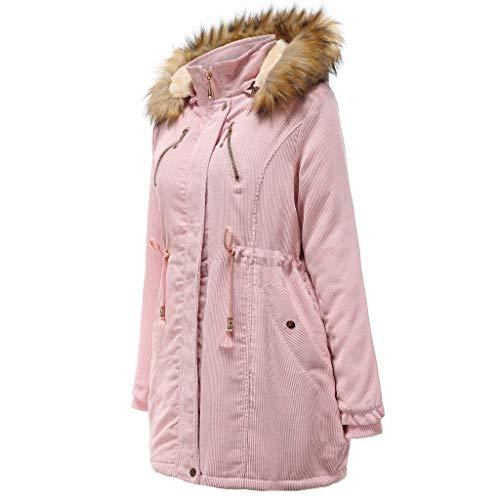 Best Buy! CrazyfashionWomens Winter Jacket Hooded Warm Coat Midi Long Sleeves Overcoat Pink