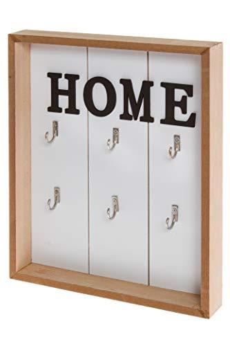 elbmöbel Plaque à clés en bois blanc avec inscription décorative Home Vintage - Crochet en métal (h 30 x l 24 x p) 4 cm