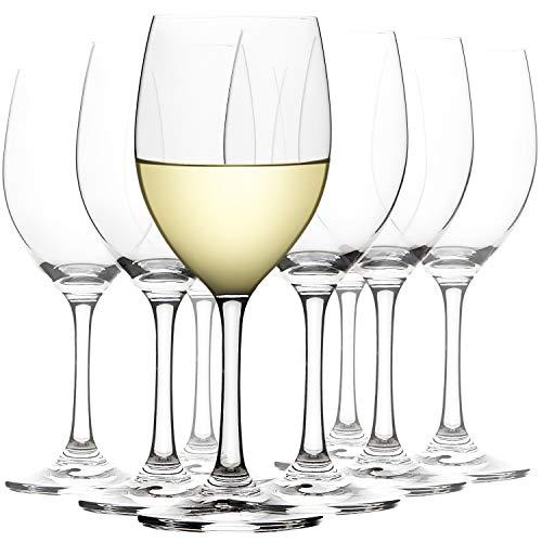CREST Calice Vino Bianco, Set di 8, 360 ml, Vetro di Cristallo