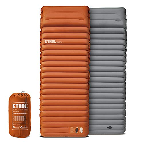 "ETROL Camping Sleeping Pad - 2 in 1 Inflating Camping Pads with Pillow (78""x28""), Lightweight Thick 4"" Compact Mat for Car Traveling Hiking - Ripstop, Anti-Leakage, Waterproof for Hammcok Tent"