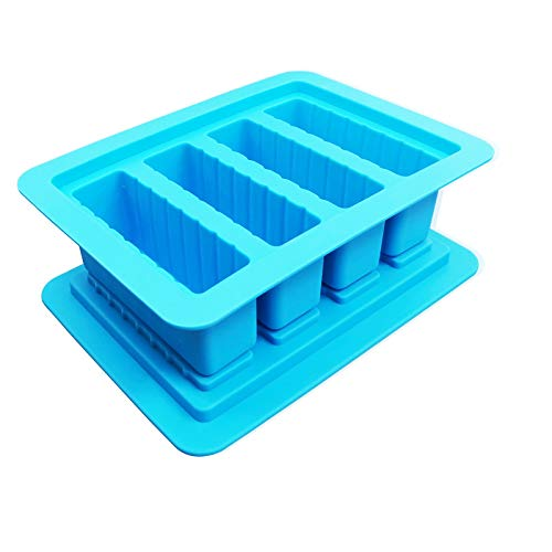 Silicone Butter Tray Mold, 4 Cavities Butter Maker with Lid Rectangle Container for Butter, Soap, Ice, Pudding, Chocolate, Popsicle, Bread, Candy Bars