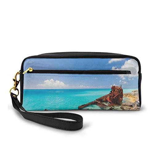 Pencil Case Pen Bag Pouch Stationary,Ship Wreckage on A Peaceful Rock Shore Natural Wonder Under Idyllic Sky Image,Small Makeup Bag Coin Purse