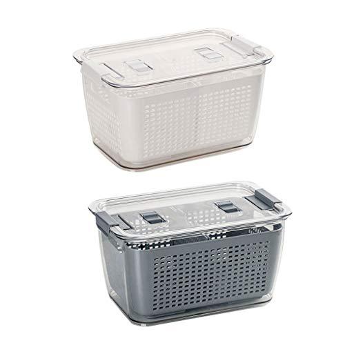 WCN Almacenamiento Contenedor Ensalada Almuerzo Kit de Almuerzo Frigorífico Organizador Caja de Almacenamiento Caja de Almacenamiento para Carne de Pescado Verduras Frutas 5.8L (Color : Grey+White)