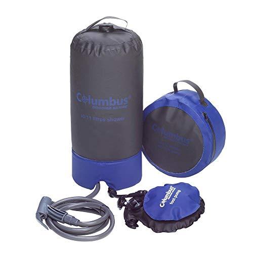 COLUMBUS Ducha Camp Shower | Ducha Portátil de Camping con Bomba de Pie y Agua a Presión. Resistente, Ligera y Compacta con Capacidad para 11 litros - Color Negro y Azul