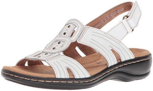 Clarks Women's Leisa Vine Platform, White Leather, 7 Medium US