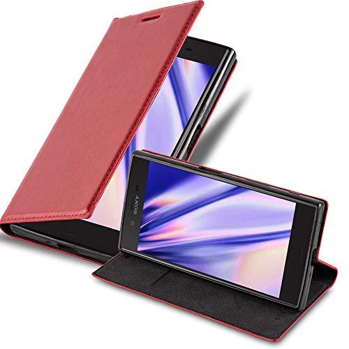 Cadorabo Hülle für Sony Xperia XZ/XZs in Apfel ROT - Handyhülle mit Magnetverschluss, Standfunktion & Kartenfach - Hülle Cover Schutzhülle Etui Tasche Book Klapp Style