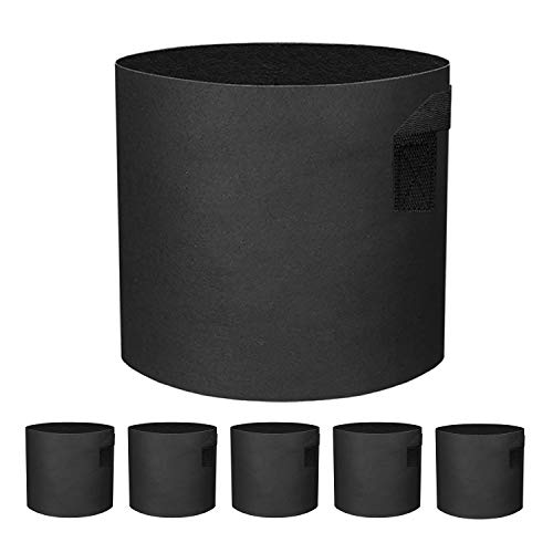 ZGPEPEXIA 5 Pack 3 Gallon Grow Bags - Black Breathable Fabric Pots Heavy Duty Aeration Fabric Pots Thickened Nonwoven Fabric Pots Plant Grow Bags with Handle