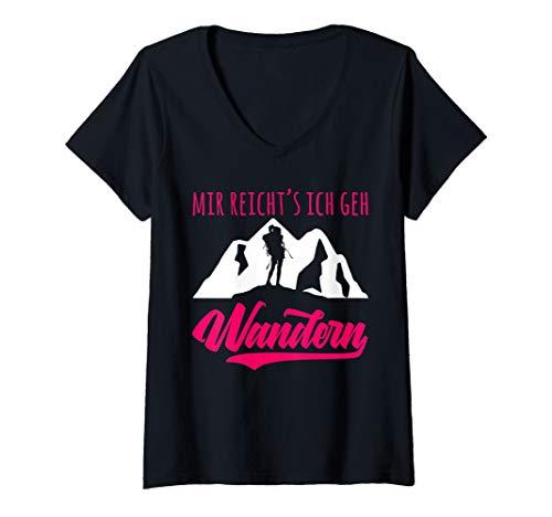 Damen Bergsteiger und Wanderer - Mir reichts ich geh Wandern T-Shirt mit V-Ausschnitt