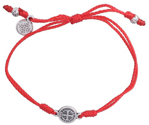 Inspirational Breathe Bracelet, Adjustable (Silver Plated Medal on Red)