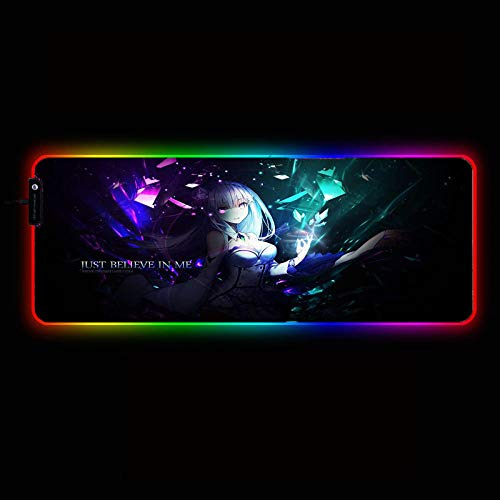 Mouse Pads Re Zero Anime Girl RGB Gaming Mouse Pad Computer Keyboard LED Light Illuminated USB Wired Colorful Luminous Mouse Mat,35.4×15.7 Inches
