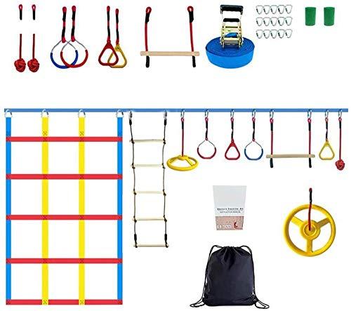 Carrera de obstáculos del guerrero ninja de 15 m, equipo de entrenamiento con juego de cuerdas de ocio para niños, escalera de escalada ninja loop y red de escalada al aire libre en el patio trasero