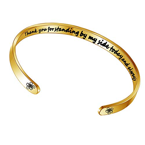 BUETERE Gold Plated Open Cuff Bracelet For Women Thank You For Standing By My Side Today And Forever Wedding Bridesmaids Jewellery