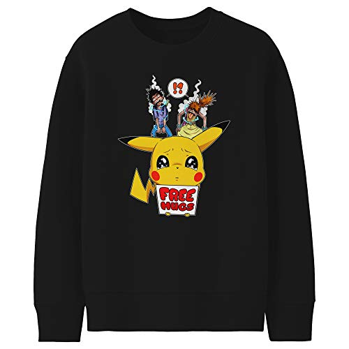 Okiwoki Pull Enfant Noir Parodie Pokémon - Pikachu - Free Hugs - Pika Free Hugs : (Sweatshirt de qualité Premium de Taille 9-10 Ans - imprimé en France)