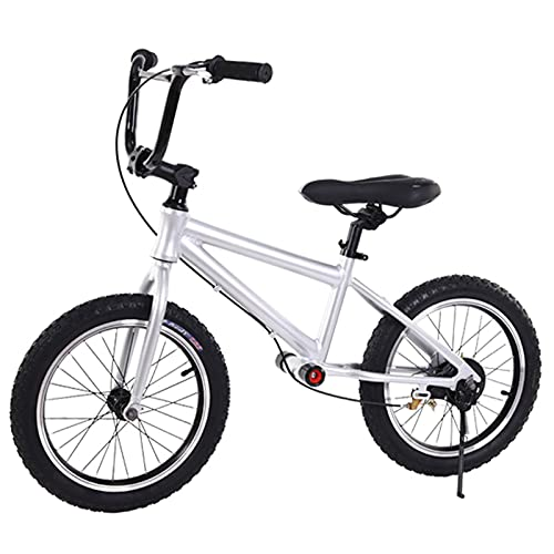 Balance Bikes 16' Wheel with Brake Kickstand, Big Kids Adults Use - Age Over 7 Years Old, No Pedal Bicycle w/Adjustable Seat Inflatable Tires (Color : Silver)