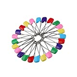 Allphone 142 PCS 5.5cm Length Baby Safety Pins, Assorted Color Plastic Head Diaper Pins, Safety Locking Baby Cloth Diaper Nappy Pins
