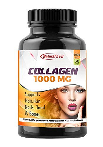 Natural's Fit Naturals Fit Advanced Collagen Capsules Supplement For Skin, Hair, Nails, Joints & Bones Health 60 Veg Collagen Capsules 1000 Mg For Men & Women