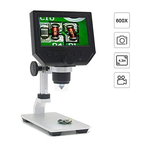 OLED Microscopio Digital De 4,3 Pulgadas De Alta Definición De Pantalla 600X De Aumento Microscopio Electrónico De Soporte De Aluminio con Batería De Litio Recargable