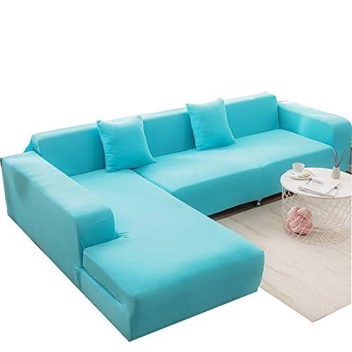 MKMKL Funda elástica para sofá, protector de muebles, suave con parte inferior elástica, fácil de llevar, azul, L