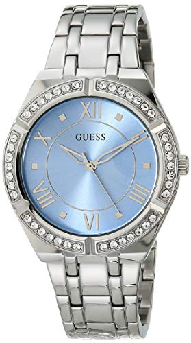 GUESS Women's Quartz Watch with Stainless Steel Strap, Silver, 12 (Model: GW0033L5)