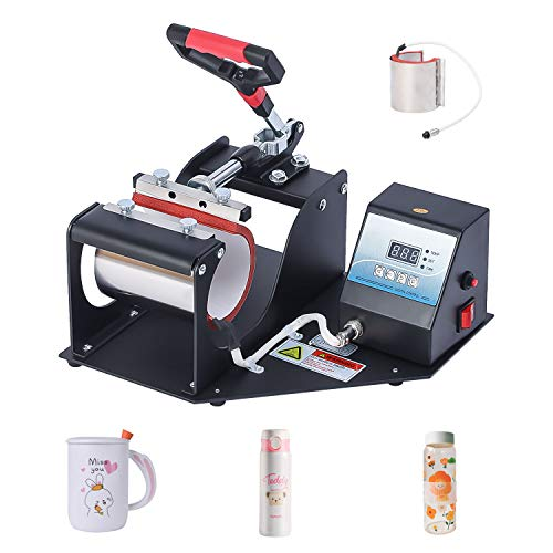 2 in 1 Mug Cup Heat Press Machine Digital Transfer Sublimation Print Machine for DIY Printing Coffee Cup Sports Bottle Steel Mug, Two Mug Attachments 9OZ 11OZ