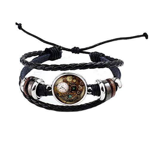 Accesorios de joyería Steampunk Reloj Pulsera de cristal Cabujón Photo Bracelet Regalos Hombres, BFF Pulsera, Pulsera de reloj, Mejor Amigo Joyería, PU119